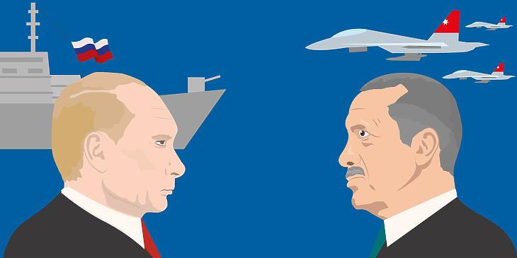Újabb konfliktus érik Putyin (balról) és Erdogan között. Fotó: depositphotos.com