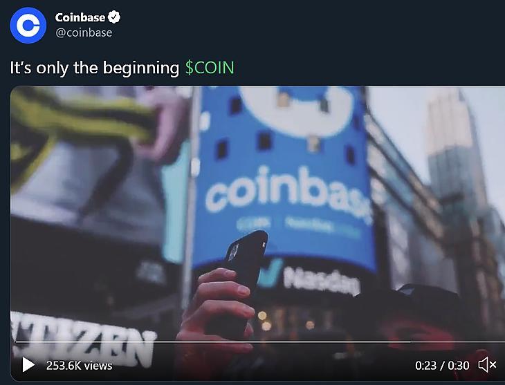"""""""Ez még csak a kezdet"""". A Coinbase így ünnepelt a Twitteren."""