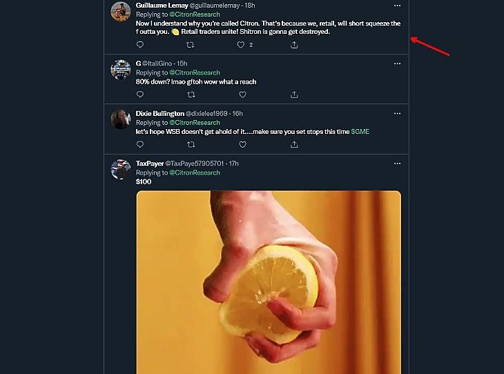 Kommentárok a Citron Capital twitter-hozzászólása alatt (forrás: Twitter.com)