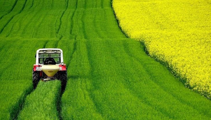 Termőföld repcével és traktorral (Pixabay.com)