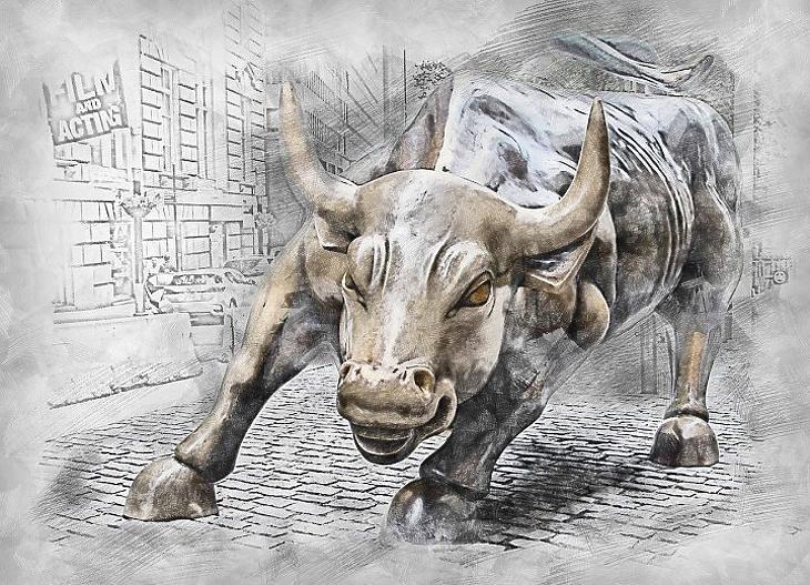 Bika New Yorkban, a tőzsdei emelkedés szimbóluma (Pixabay.com)