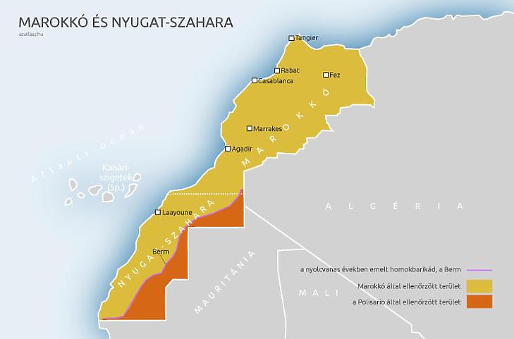 Marokkó és Nyugat-Szahara (Forrás: azatlasz.hu)