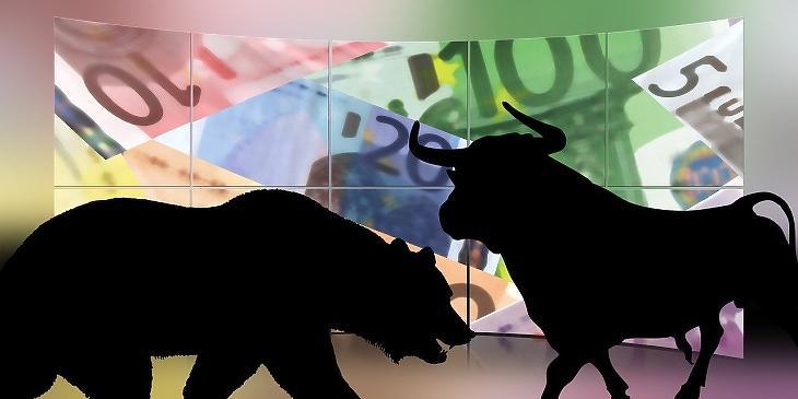 Bika és medve, az emelkedő és eső tőzsdei trend jelképei (Pixabay)