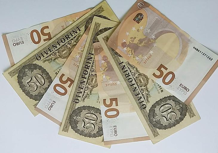 Forint- és euróbankjegyek