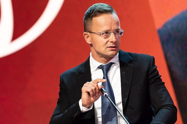 Szijjártó Péter külgazdasági és külügyminiszter felszólal a 15. Bledi Stratégiai Fórumon 2020. augusztus 31-én. MTI/KKM/Borsos Mátyás