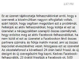 Pofátlan kamuüzenet terjed a Facebookon - ne küldd tovább!