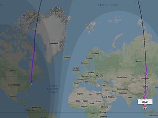 Megtette első útját a világ leghosszabb járata – visszafelé az Északi-sarkon át