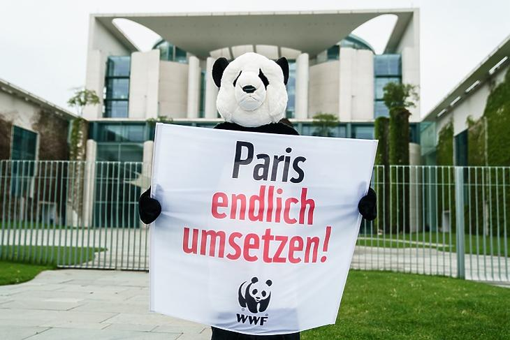 Tüntetés a párizsi klímavédelmi egyezmény végrehajtásáért a német kormány épülete előtt Berlinben 2021. május 12-én. EPA/CLEMENS BILAN