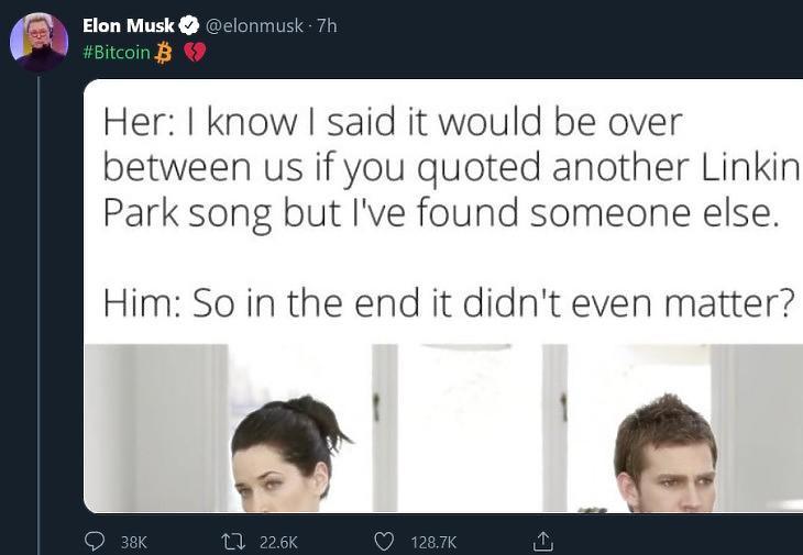 """Elon Musk """"megtört szív + bitcoin"""" tweetje"""