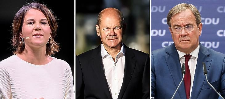 A három kancellárjelölt: Annalena Baerbock (Zöldek), Olaf Scholz (SPD), Armin Laschet (CDU-CSU). (EPA/SASCHA STEINBACH/FILIP SINGER)